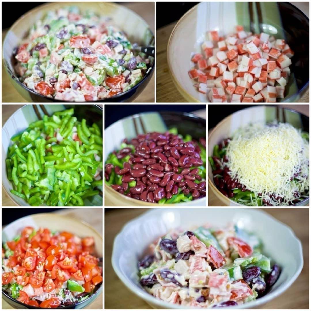 Салат с крабовыми палочками и фасолью. Сохраните себе в закладки!