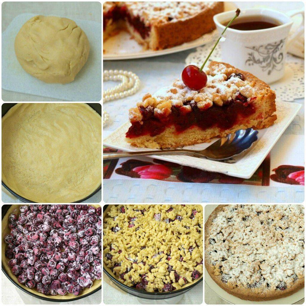 Рецепт песочного пирога с вишней