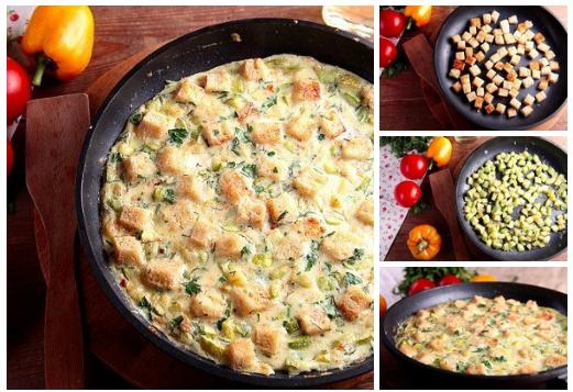 Идея к завтраку — Яичница с кабачками и хлебом