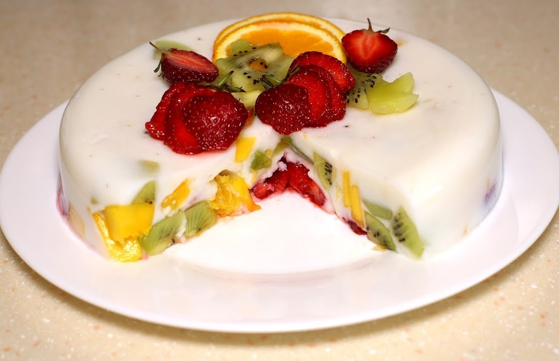 Самый фруктовый желейный торт без выпечки быстро и легко!