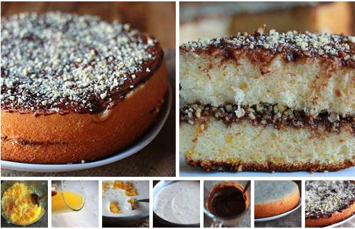 Пышный апельсиновый бисквитный торт с шоколадной глазурью и орехами, приготовленный в мультиварке
